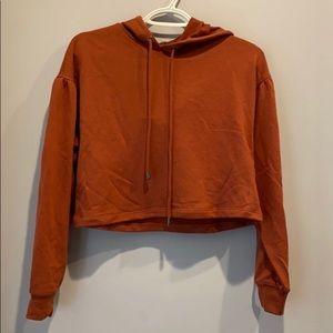 NWT Rust Cropped Hoodie Sweatshirt